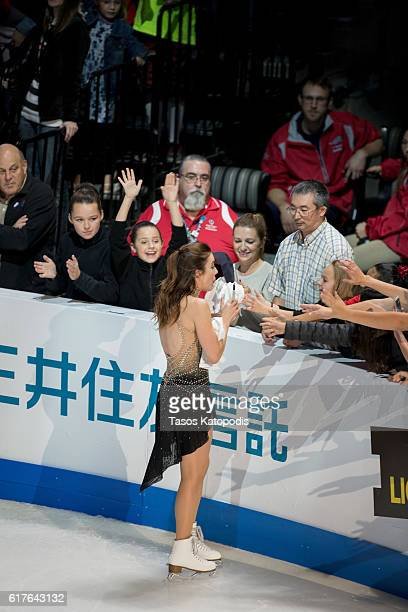 Ashley Wagner of the US signs autographs for fans at the Smucker's Skating Spectacular at 2016 Progressive Skate America at Sears Centre Arena on...