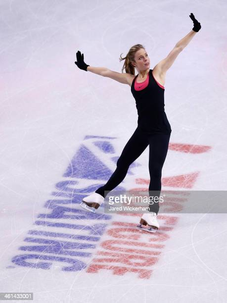 Ashley Wagner practices ahead of the 2014 Prudential US Figure Skating Championships at TD Garden on January 8 2014 in Boston Massachusetts