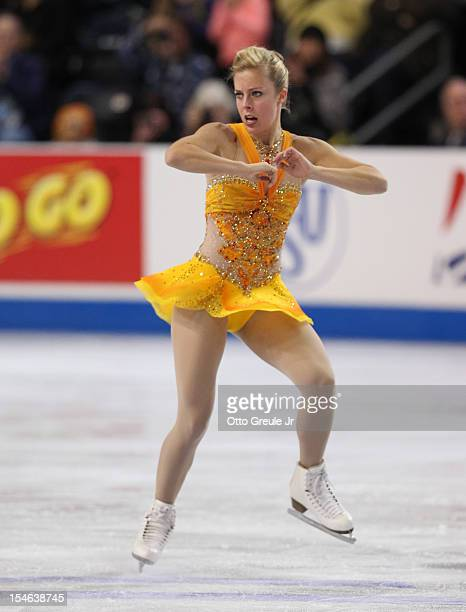 Ashley Wagner skates in the ladies free skate during Day 3 of the Skate America competition at the ShoWare Center on October 21 2012 in Kent...