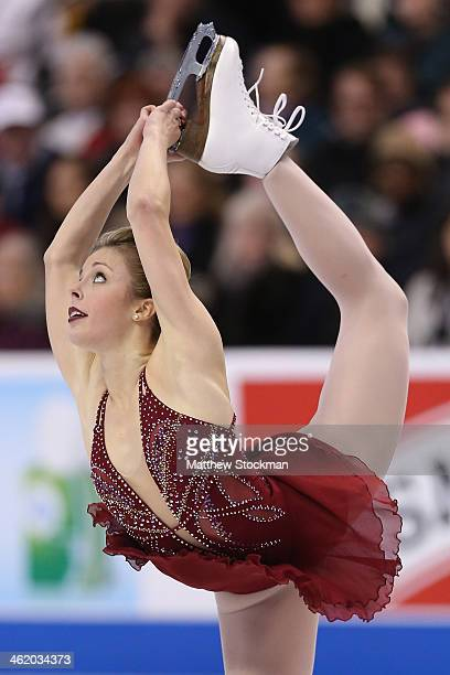 Ashley Wagner skates the ladies free skate during the Prudential U.S. Figure Skating Championships at TD Garden on January 11, 2014 in Boston,...