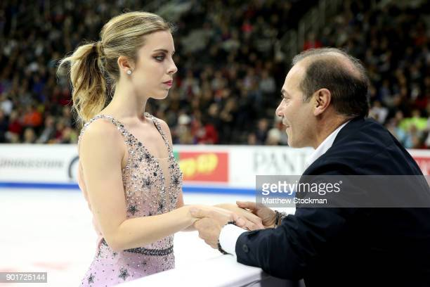 Ashley Wagnerconfers with coach Rafael Arutunian before skating inthe Ladies Free Skate during the 2018 Prudential US Figure Skating Championships at...
