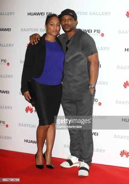Ashley Walters and Danielle Isaie arrives at the Saatchi Gallery for its new exhibition 'From Selfie to SelfExpression' on March 30 2017 in London...