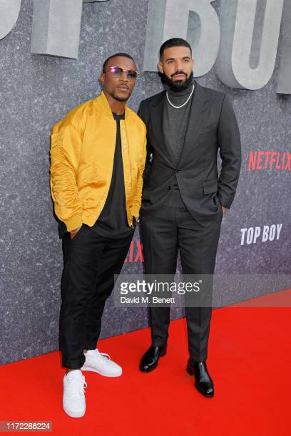 "Ashley Walters and Drake attend the UK Premiere of ""Top Boy"" at the Hackney Picturehouse on September 04, 2019 in London, England."