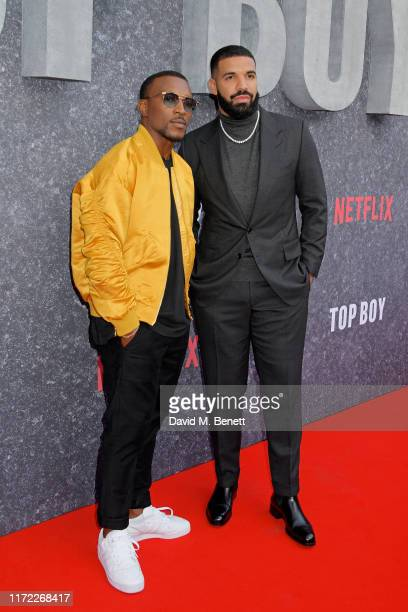 Ashley Walters and Drake attend the UK Premiere of Top Boy at the Hackney Picturehouse on September 04 2019 in London England