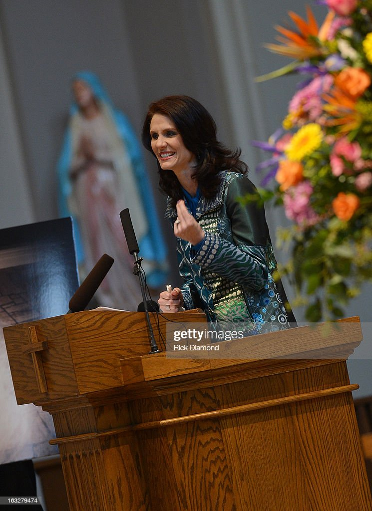Ashley Webb - Family Friend speaks during the memorial service for Mindy McCready at Cathedral of the Incarnation on March 6, 2013 in Nashville, Tennessee. McCready was found dead from an apparent suicide on February 17, 2013 at her home in Heber Springs, Arkansas.