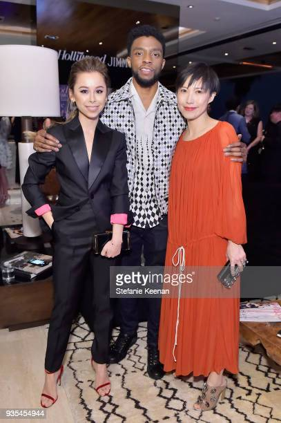 Ashley Weston Chadwick Boseman and Jimmy Choo Creative Director Sandra Choi attend The Hollywood Reporter and Jimmy Choo Power Stylists Dinner on...
