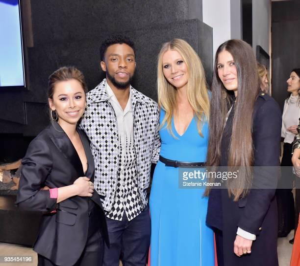 Ashley Weston Chadwick Boseman Gwyneth Paltrow and Elizabeth Saltzman attend The Hollywood Reporter and Jimmy Choo Power Stylists Dinner on March 20...