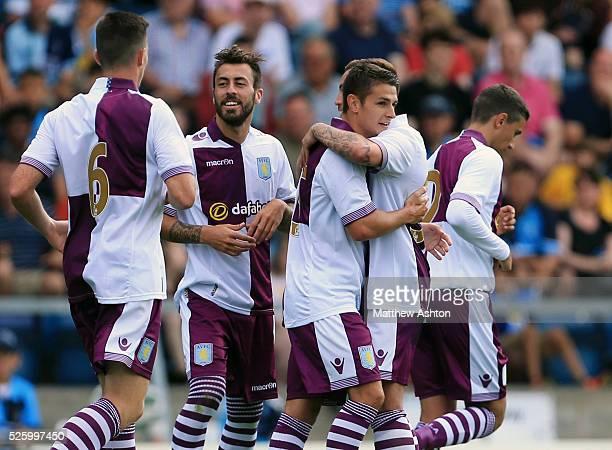 Ashley Westwood of Aston Villa celebrates after scoring to make it 22