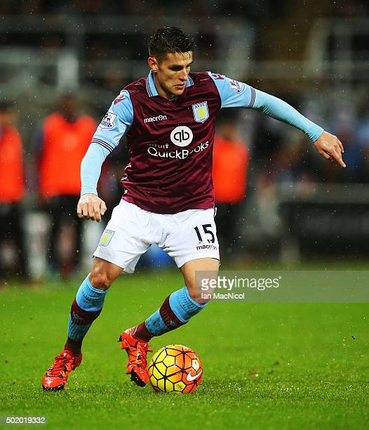 Ashley Westwood of Aston Villa controls the ball during the Barclays Premier League match between Newcastle and Aston Villa at St James Park on...