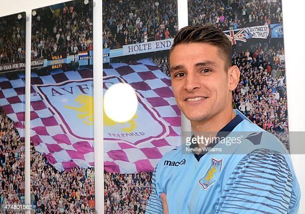 Ashley Westwood of Aston Villa during the Aston Villa FA Cup Final media day at Bodymoor Heath training ground on May 26 2015 in Birmingham England