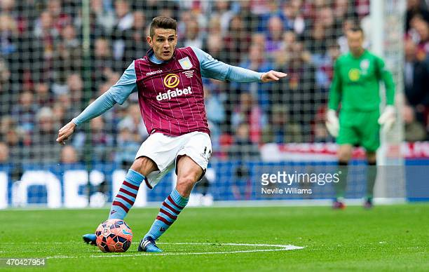 Ashley Westwood of Aston Villa during the FA Cup SemiFinal match between Aston Villa and Liverpool at Wembley Stadium on April 19 2015 in London...