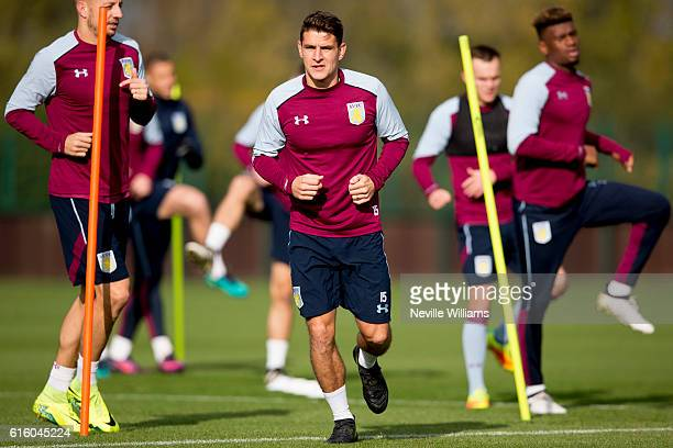 Ashley Westwood of Aston Villa in action during a training session at the club's training ground at Bodymoor Heath on October 21 2016 in Birmingham...