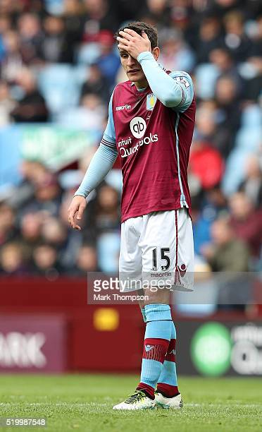 Ashley Westwood of Aston Villa reacts during the Barclays Premier League match between Aston Villa and AFC Bournemouth at Villa Park on April 9 2016...