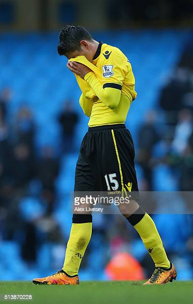 Ashley Westwood of Aston Villa shows his dejection after the Barclays Premier League match between Manchester City and Aston Villa at Etihad Stadium...