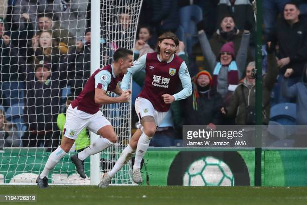 Ashley Westwood of Burnley celebrates after scoring a goal to make it 21 during the Premier League match between Burnley FC and Leicester City at...