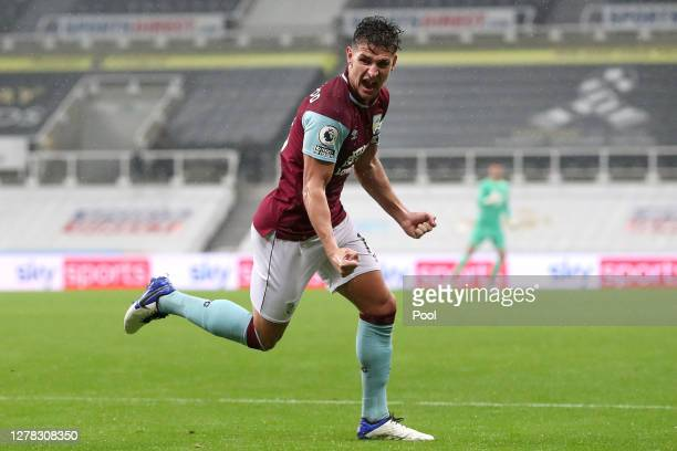 Ashley Westwood of Burnley celebrates after scoring his team's first goal during the Premier League match between Newcastle United and Burnley at St....