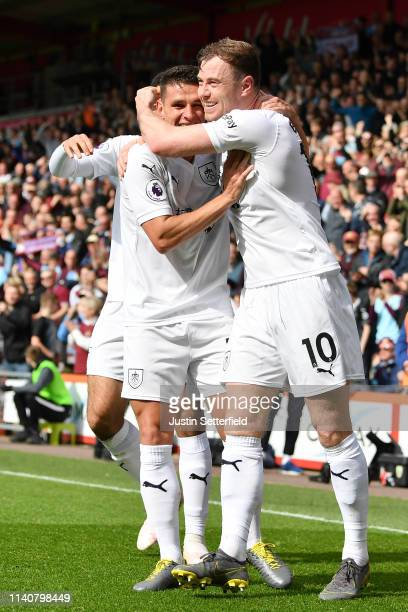 Ashley Westwood of Burnley celebrates after scoring his team's second goal with Ashley Barnes of Burnley during the Premier League match between AFC...