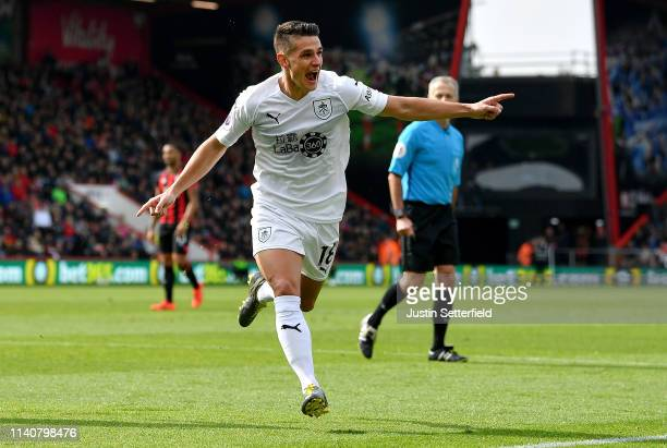 Ashley Westwood of Burnley celebrates after scoring his team's second goal during the Premier League match between AFC Bournemouth and Burnley FC at...