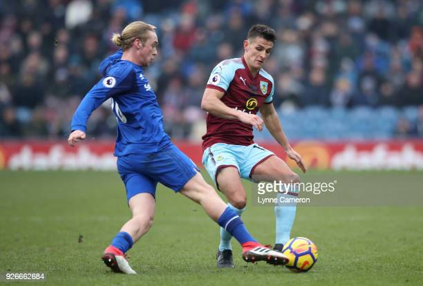 Ashley Westwood of Burnley fouls Tom Davies of Everton during the Premier League match between Burnley and Everton at Turf Moor on March 3 2018 in...