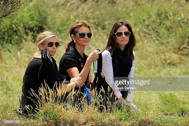 Ashley Widemann partner of Robert Allenby of the International Team Kirsten Norman wife of International Team captain Greg Norman and Soyna Toms wife...