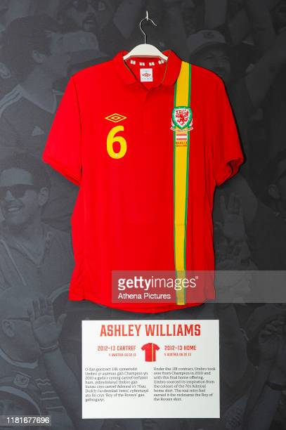 Ashley Williams 2012/13 Wales home shirt is displayed at The Art of the Wales Shirt Exhibition at St Fagans National Museum of History on November 11...