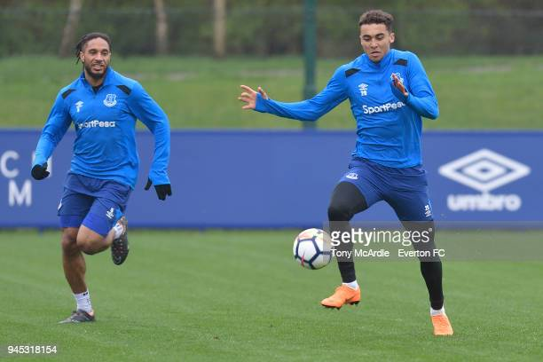 Ashley Williams and Dominic CalvertLewin during the Everton FC training session at USM Finch Farm on April 12 2018 in Halewood England