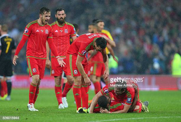 Ashley Williams Chris Gunter James Chester Joe Ledley and Aaron Ramsey of Wales celebrate on the final whistle