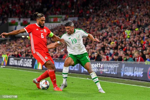 Ashley Williams Jon Walters seen in action during the game UEFA Nations League match between Wales and Republic of Ireland at Cardiff City Stadium...