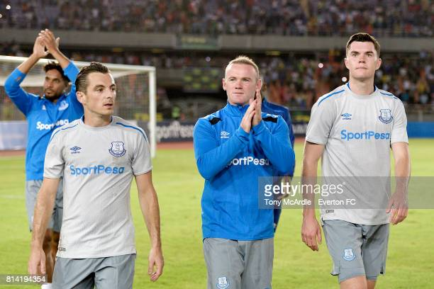 Ashley Williams Leighton Baines Wayne Rooney and Michael Keane of Everton after the preseason match between Everton and Gor Mahia in DarEsSalaam on...