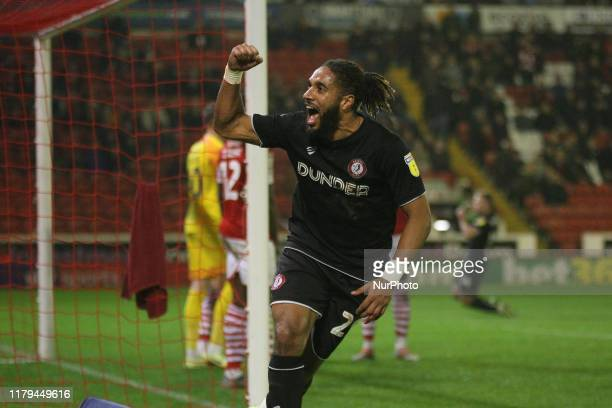 Ashley Williams of Bristol City celebrates Bristol City's 2nd goal scored by Andreas Weimann of Bristol City during the Sky Bet Championship match...