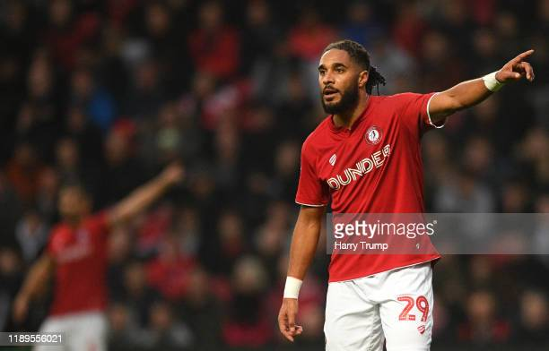 Ashley Williams of Bristol City givs orders to his side during the Sky Bet Championship match between Bristol City and Nottingham Forest at Ashton...