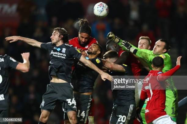 Ashley Williams of Bristol City is squeezed out by Jake ClarkeSalter Ivan Sunjic Gary Gardner and goalkeeper Lee Camp of Birmingham City during the...
