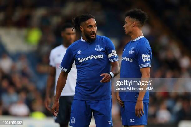 Ashley Williams of Everton and Antonee Robinson of Everton during the PreSeason Friendly match between Bury and Everton at Gigg Lane on July 18 2018...