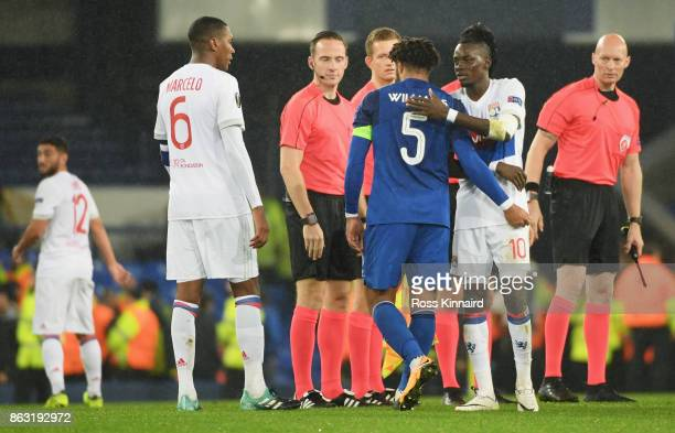 Ashley Williams of Everton and Bertrand Traoré of Lyon shake hands after the UEFA Europa League Group E match between Everton FC and Olympique Lyon...
