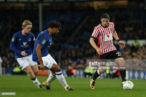 Ashley Williams of Everton and Lynden Gooch of Sunderland during the Carabao Cup Third Round match between Everton and Sunderland at Goodison Park on...