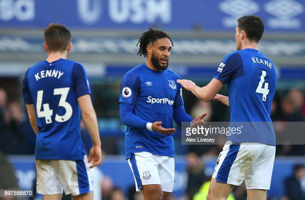 Ashley Williams of Everton and Michael Keane of Everton shake hands after the Premier League match between Everton and Chelsea at Goodison Park on...