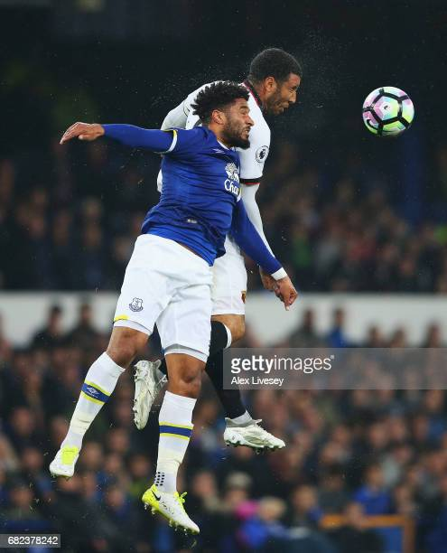 Ashley Williams of Everton and Troy Deeney of Watford battle to win a header during the Premier League match between Everton and Watford at Goodison...