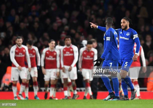 Ashley Williams of Everton and Yannick Bolasie argue after Arsenal score there fifth goal during the Premier League match between Arsenal and Everton...