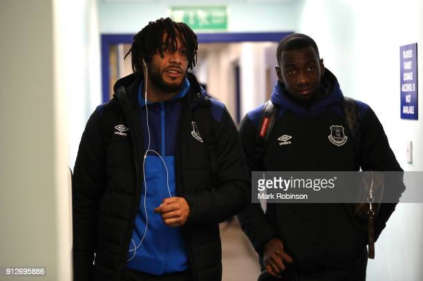Ashley Williams of Everton and Yannick Bolasie of Everton arrive at the stadium prior to the Premier League match between Everton and Leicester City...