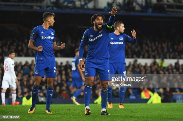 Ashley Williams of Everton apeals during the UEFA Europa League Group E match between Everton FC and Olympique Lyon at Goodison Park on October 19...