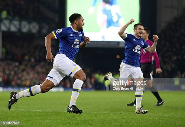 Ashley Williams of Everton celebrates after scoring a goal to make it 21 during the Premier League match between Everton and Arsenal at Goodison Park...