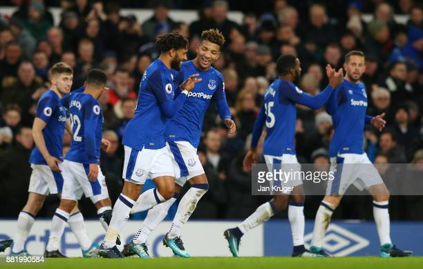 Ashley Williams of Everton celebrates after scoring his sides fourth goal with Mason Holgate of Everton during the Premier League match between...