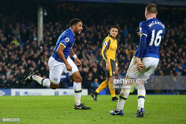 Ashley Williams of Everton celebrates after scoring his teams second goal during the Premier League match between Everton and Arsenal at Goodison...
