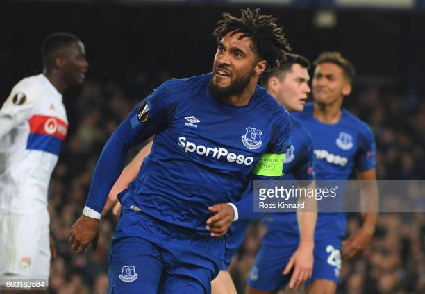 Ashley Williams of Everton celebrates as he scores their first goal during the UEFA Europa League Group E match between Everton FC and Olympique Lyon...