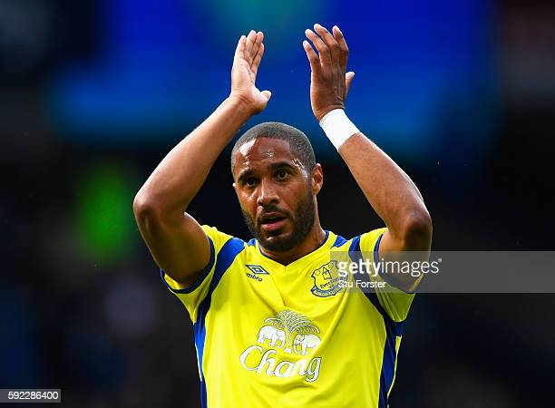 Ashley Williams of Everton claps the fans afer the final whistle during the Premier League match between West Bromwich Albion and Everton at The...