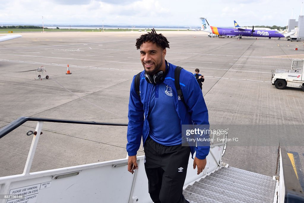 Ashley Williams of Everton climbs the stairs as the Everton team depart for their UEFA Europa League match in Spilt at Liverpool John Lennon Airport on August 23, 2017 in Liverpool, England.