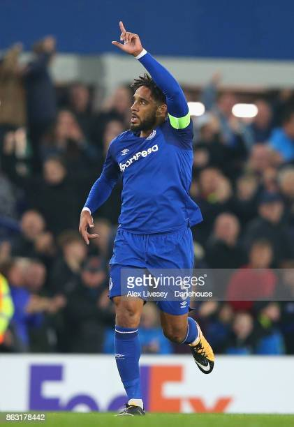 Ashley Williams of Everton FC celebrates after his goal during the UEFA Europa League group E match between Everton FC and Olympique Lyon at Goodison...