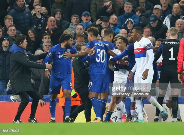 Ashley Williams of Everton FC clashes with Marcelo of Olympique Lyon during the UEFA Europa League group E match between Everton FC and Olympique...