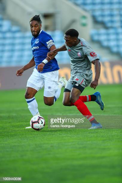 Ashley Williams of Everton FC vies with Lebo Mothiba of LOSC Lille for the ball possession during the match between Everton FC and LOSC Lille for...
