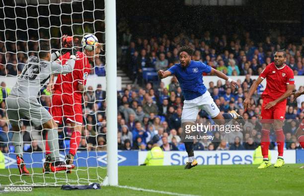 Ashley Williams of Everton has his header saved on the line by David Soria of Sevilla during a preseason friendly match between Everton and Sevilla...
